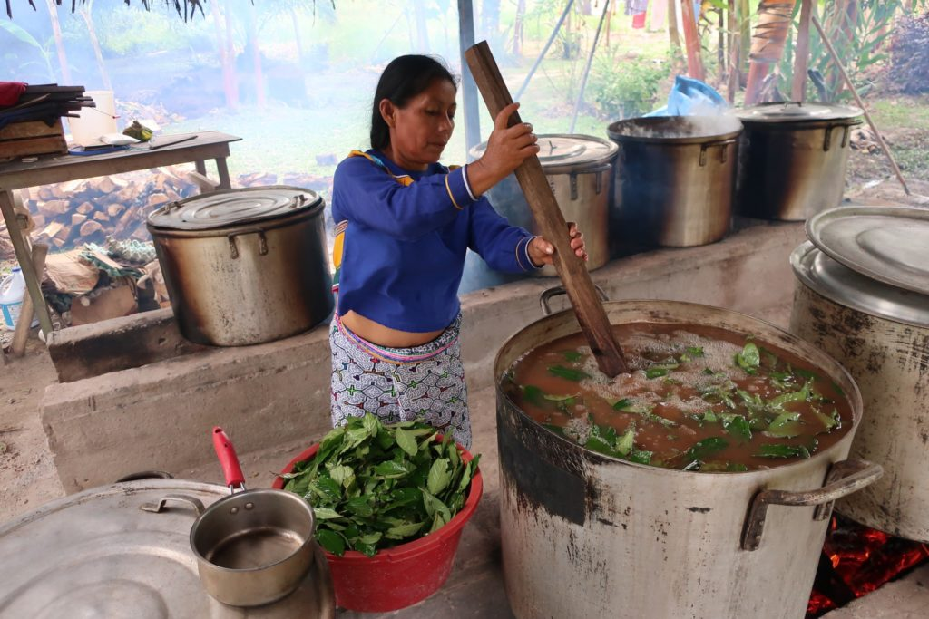 mujer cocinando ayahuasca iowaska Amazonas ICEERS